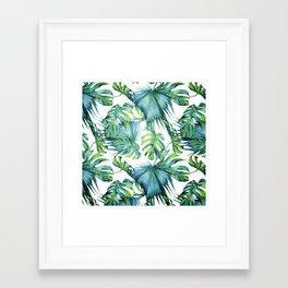 Blue Jungle Leaves, Monstera, Palm #society6 Framed Art Print