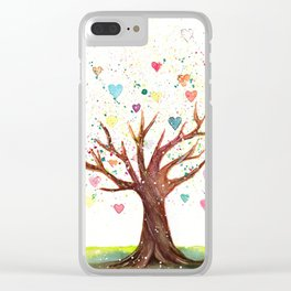 Heart Tree Watercolor Illustration Clear iPhone Case