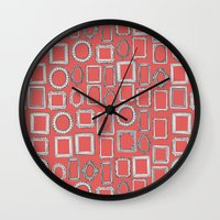 frames Wall Clocks featuring picture frames coral by Sharon Turner
