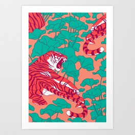 Scarlet tigers on lotus flower field. Art Print