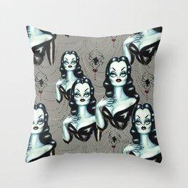 Vampire Vixen with Black Widow Spider Throw Pillow