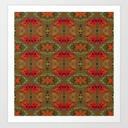 Whimsical pink, orange and green retro pattern  Art Print