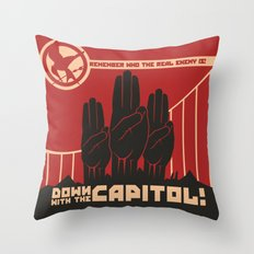 Down With The Capitol - Propaganda Throw Pillow