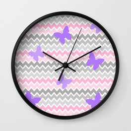 Pink Grey Ombre Chevron with Purple Butterflies Wall Clock