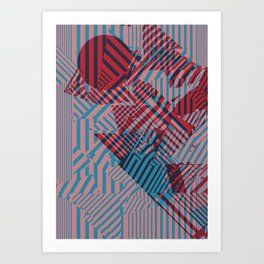 Dazzle Camo #02 - Blue & Red Art Print