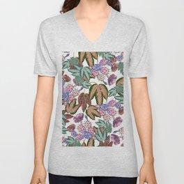 Country pink lavender forest green leaves cactus floral Unisex V-Neck