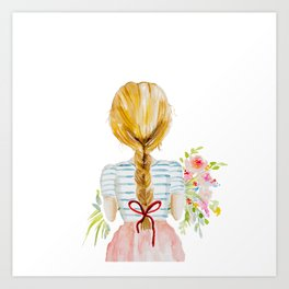 Blonde Girl with Flowers Art Print