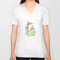 ducks V-neck T-shirts featuring  Wild ducks by Thesecretcolors