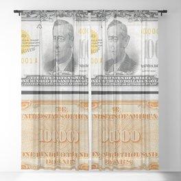 Vintage 1934 $100,000 Dollar Bill Gold Certificate Woodrow Wilson Wall Art Sheer Curtain