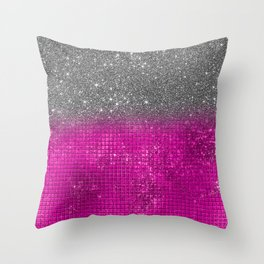 Sparkly Hot Pink & Silver Glitter Gradient Throw Pillow