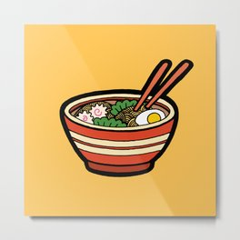 Ramen Bowl Pattern in Orange Metal Print