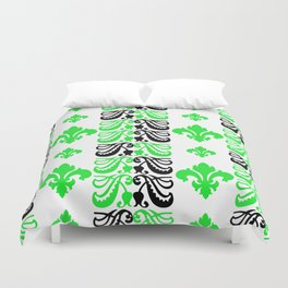 Fluer de Lis Custom Green Duvet Cover