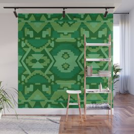 Geometric Aztec in Forest Green Wall Mural