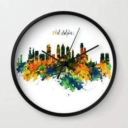 Philadelphia Watercolor Skyline Wall Clock