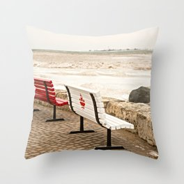 Canadian Benches Throw Pillow