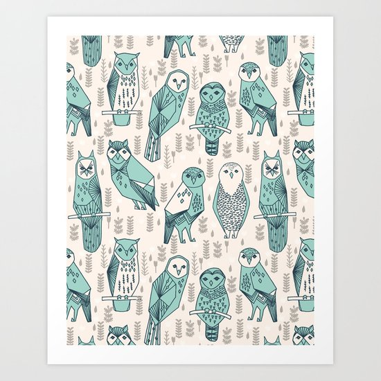 Parliament of Owls - Pale Turquoise by Andrea Lauren Art Print