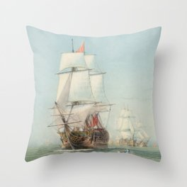 Vintage Ship Art Throw Pillow