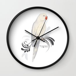 White Indian Ringneck Parrot Wall Clock