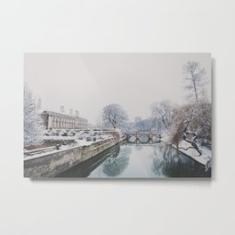 The River Cam in Cambridge in the snow.  Metal Print