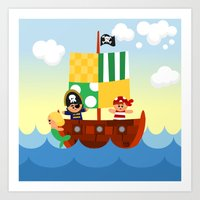 pirate ship Art Prints featuring pirate ship by Alapapaju