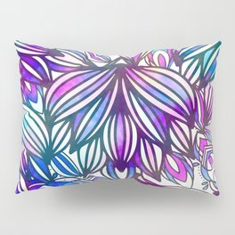 Hand painted neon pink teal blue watercolor floral Pillow Sham