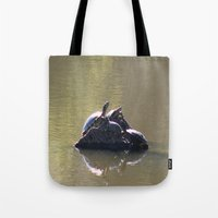turtles Tote Bags featuring Turtles by Bella Lilly Photography