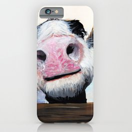 Nosey Cow ' HEY! HOW'S IT GOIN'? ' by Shirley MacArthur iPhone Case