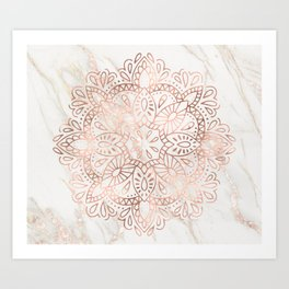 Rose Gold Mandala Marble Art Print
