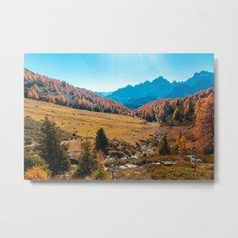 Autumn trekking in the alpine Pusteria valley Metal Print