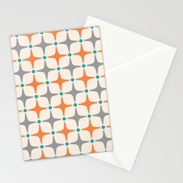 Mid Century Modern Star Pattern Grey and Orange Stationery Cards