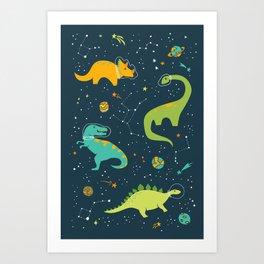 Dinosaur Space Adventure Art Print