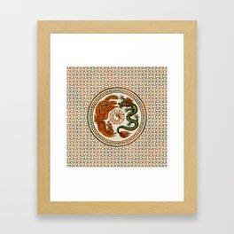 Phoenix and Dragon with bagua #3 Framed Art Print