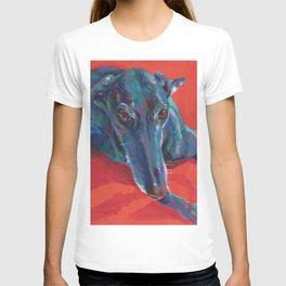 Greyhound on Red T-shirt