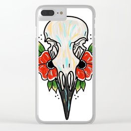 Crow Skull and Flowers Clear iPhone Case