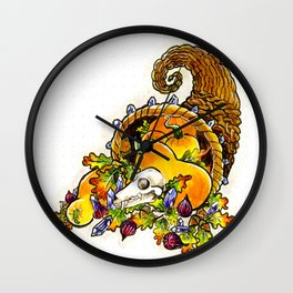 Cornucopia with squash, figs, acorns, crystals, and bat skull Wall Clock