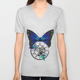 Butterfly Pocketwatch Painting Unisex V-Neck