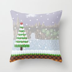 Green Hill Christmas Throw Pillow