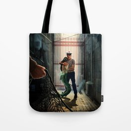 The marine and the mermaid in trouble Tote Bag