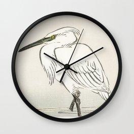 Crane Japanese Woodcut Wall Clock