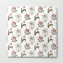 Pink and White Vintage Floral Pattern Metal Print