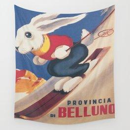 Dolomiti Ski Bunny Vintage Poster Wall Tapestry