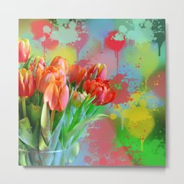 Painterly spring tulips on an abstract background Metal Print