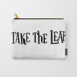 Take The Leap: white Carry-All Pouch