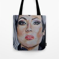 regina mills Tote Bags featuring Regina Mills/Evil Queen by Bernadette Woods