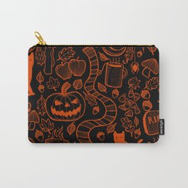 October Pattern- Orange & Black Carry-All Pouch