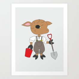 Gardening illustration - cute sheep character with garden tools. Art Print