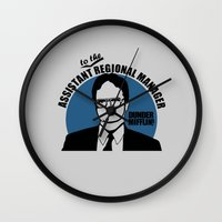 dwight schrute Wall Clocks featuring Dwight Schrute logo v2 by Buby87