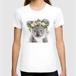 Baby Koala With Flower Crown, Baby Animals Art Print By Synplus T-shirt