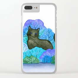 Blue Forest and Black Cat Watercolor Clear iPhone Case