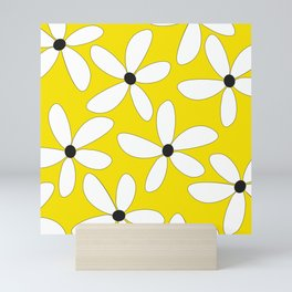 Happy flowers Yellow Mini Art Print